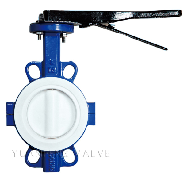 Full PTFE Wafer Type Butterfly Valve